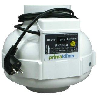 Prima Klima radial tube fan PK125-2, two-speed 220/400m³/h, Ø 125mm