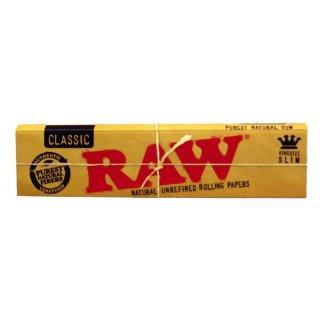 RAW Connoisseur, King Size Slim 108 x 44mm 32 Blatt + Tips ungebleicht
