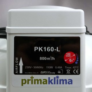 Prima Klima radial tube fan PK160-L, 1-Speed 800m³/h, Ø 160mm