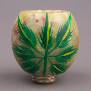 steatite pipe bowl with cannabis leaf
