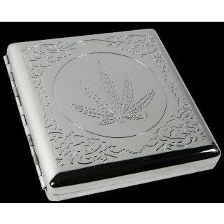 Cigarette case cannabis leaf, ca. 8,5 x 9cm