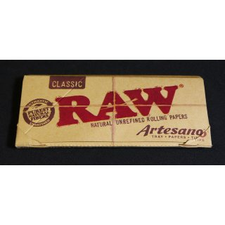 RAW Artesano, King Size Slim 108 x 44mm 32 Blatt + Tips + Bauunterlage ungebleicht