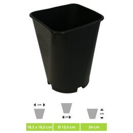 Plant pot, round base, square edge, 17 x 17 x 24cm, 6 liters