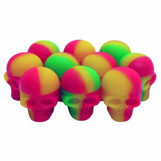 10x Silicone Container Skull 3ml, assorted colors
