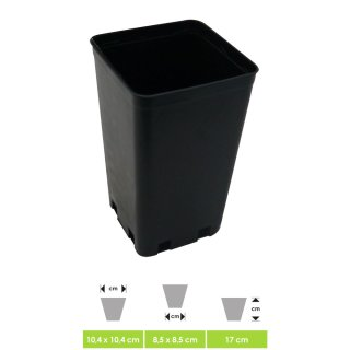 Professional plant pot - flower pot, square, for small plants and seedlings - perfect for indoor & outdoor in the winter garden on the terrace or in the grow box, ca. 10 x 10 x 17 cm Vol. 1,4 Ltr.