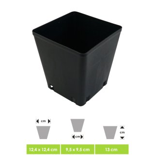 Professional plant pot - flower pot, square, for small plants and seedlings - perfect for indoor & outdoor in the winter garden on the terrace or in the grow box, ca. 12 x 12 x 13 cm Vol. 1,5 Ltr.