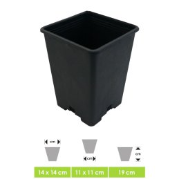Professional plant pot - flower pot, square, for small and medium-sized plants - perfect for indoor & outdoor in the winter garden on the terrace or in the grow box, ca. 13 x 13 x 18 cm Vol. 2,5 Ltr.