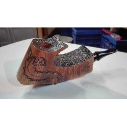 hubey Freehand Pfeife aus Bruyèreholz mit Ebonit-Mundstück, Länge 16,5cm