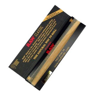 RAW Classic black, King Size Slim 108 x 44mm 32 Blatt ungebleicht
