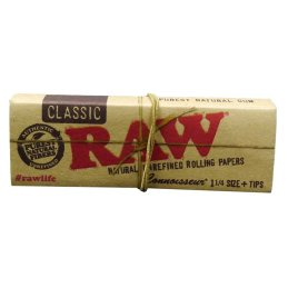 Raw Classic Connoisseur 1 1/4, 75 x 44mm 32 Blatt + Tips...